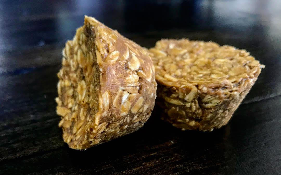 image of two no bake cookies on a plate